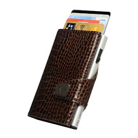 Click & Slide Wallet, Croco Brown