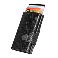 Click & Slide Wallet, Black Iguana