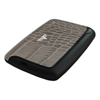 Card Case Leather, Croco Taupe