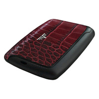 Card Case Leather, Croco Bordeaux