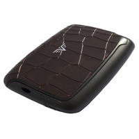 Card Case Leather, Croco Brown