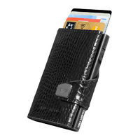 Click & Slide Wallet, Croco Black
