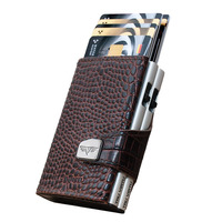 Click & Slide Wallet, Croco Brown / Silver