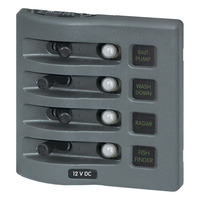 WeatherDeck 12V DC Waterproof Circuit Breaker Panel - Gray 4 Positions