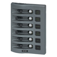 WeatherDeck 12V DC Waterproof Circuit Breaker Panel - Gray 6 Positions